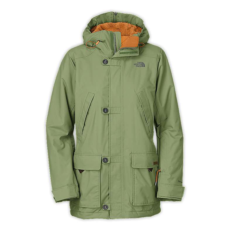 NORTH FACE WOMEN HONEE SNUGS DELUX PARKA BOYCE GREEN