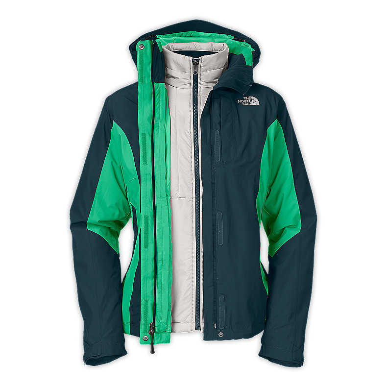 NORTH FACE WOMEN VINSON II TRICLIMATE JACKET KODIAK BLUE / LIZZIE GREEN
