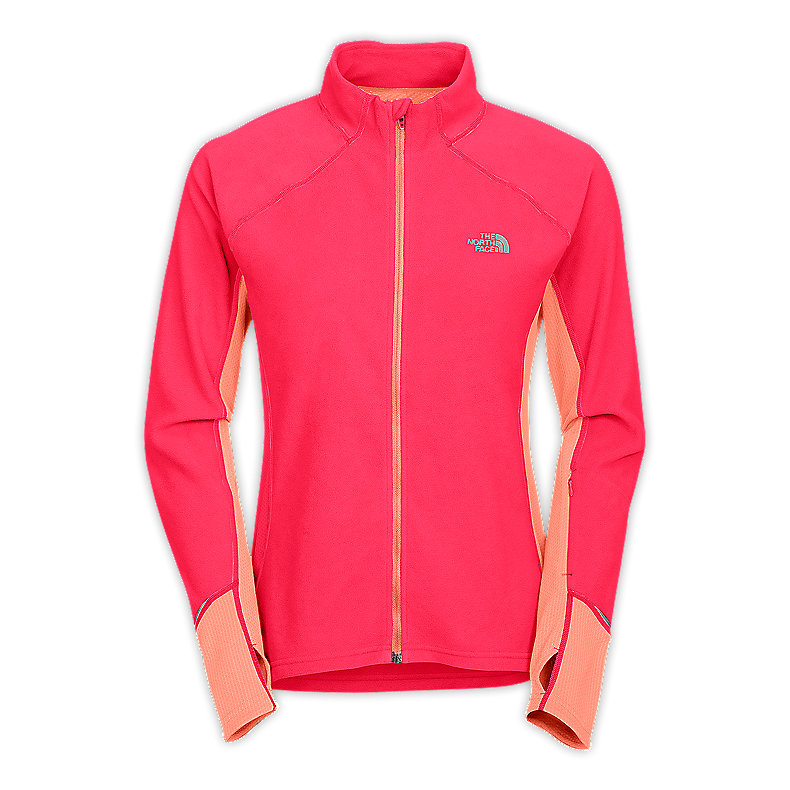 NORTH FACE WOMEN TKA 80 FULL ZIP TEABERRY PINK / TWIST ORANGE