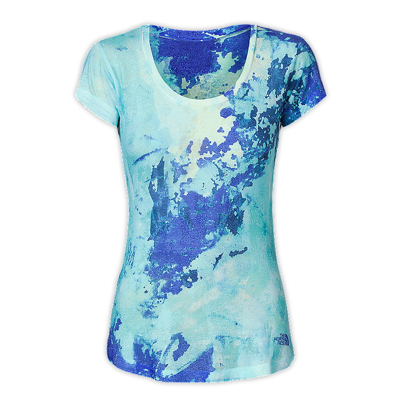 NORTH FACE WOMEN TADASANA SUN RISE TEE VIBRANT BLUE SUBLIMATION PRINT