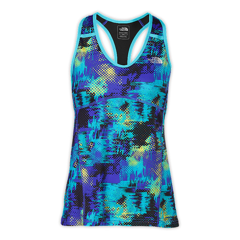 NORTH FACE WOMEN EAT MY DUST SPORT TANK VIBRANT BLUE PRINT