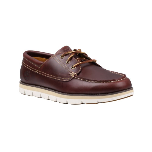 Timberland Mens Earthkeepers Harborside 3-Eye Leather Boat Shoes Burgundy Smooth