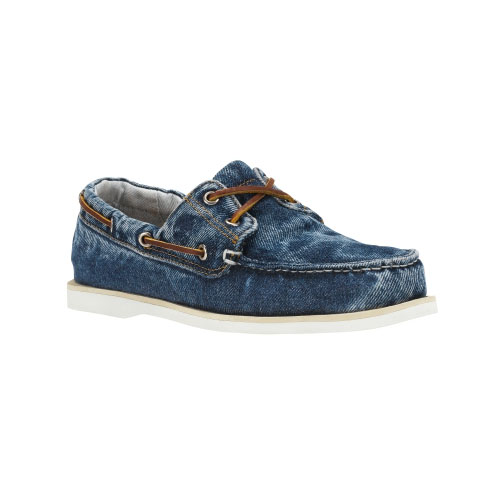 Timberland Mens Denim Boat Shoes Blue Washed Denim