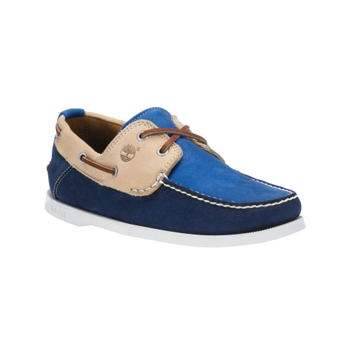 Timberland Mens Earthkeepers Heritage 2-Eye Boat Shoes Tan/Navy/Bright Blue