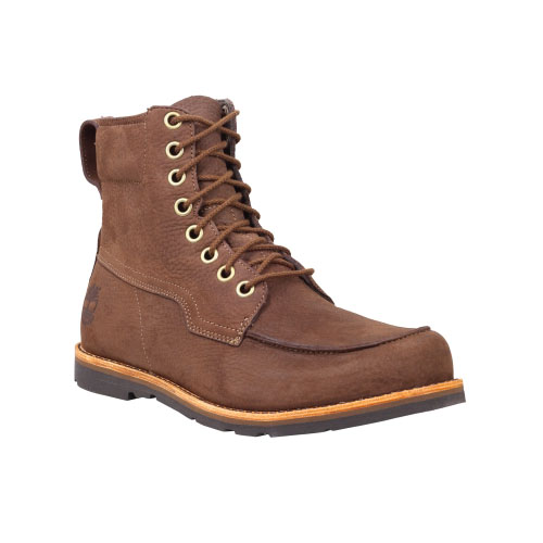 Timberland Mens Earthkeepers Rugged 6-Inch Moc Toe Boots Dark Brown Tumbled Nubuck