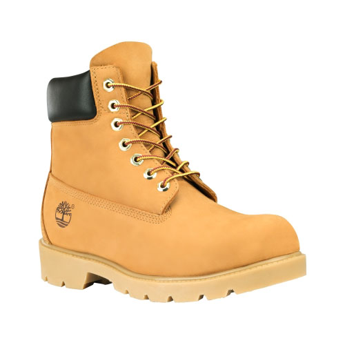 Timberland Mens 6-Inch Basic Waterproof Boots w/Padded Collar Wheat Nubuck