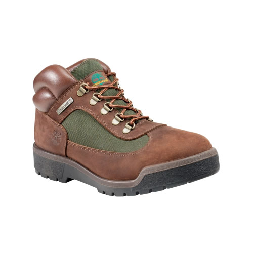 Timberland Mens Classic Field Boots Brown Nubuck W/Olive Green
