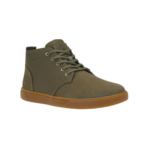 Timberland Mens Groveton Chukka Shoes Olive Nubuck/Canvas