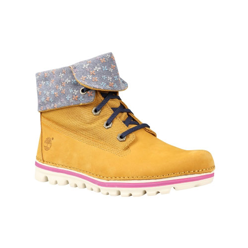 Timberland Womens Earthkeepers Brookton Canvas Roll-Top Boots Wheat Nubuck/Flowers