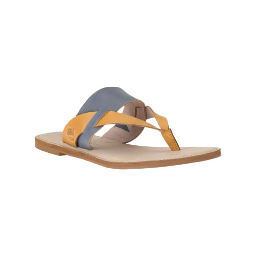Timberland Womens Sheafe Leather Thong Sandals  Folkstone Grey/Tan Full-Grain