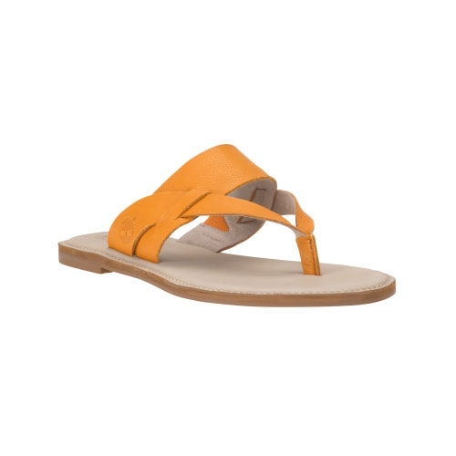 Timberland Womens Sheafe Leather Thong Sandals Apricot Gluvy Leather
