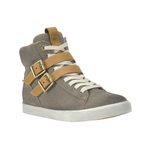 Timberland Womens Glastenbury Leather High-Top Shoes Warm Grey Suede