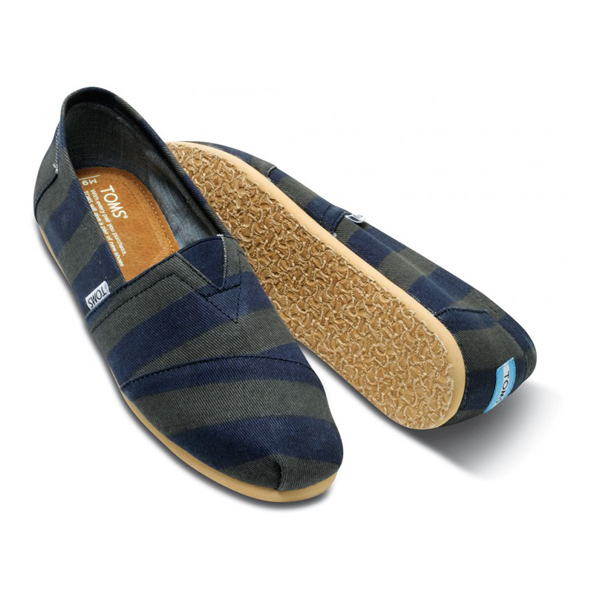 Toms Navy Denim Stripe Men Classics