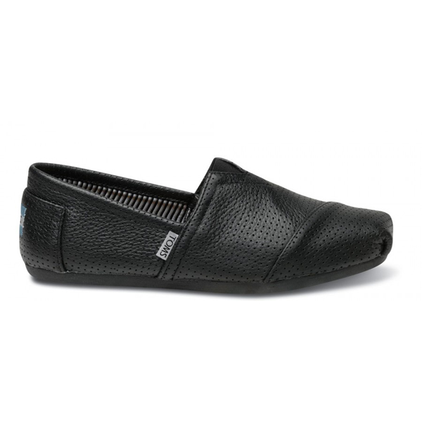 Toms Black Perforated Leather Men Classics