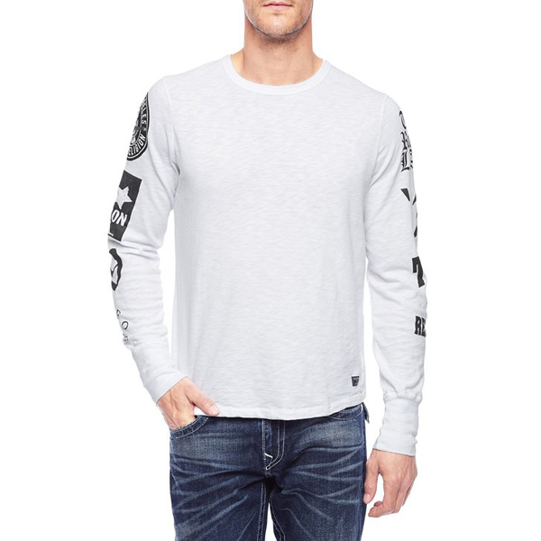 TRUE RELIGION EUROPEAN MULTI LOGO LONG SLEEVE MENS T-SHIRT