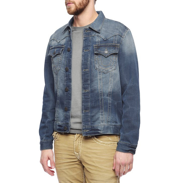 TRUE RELIGION JIMMY TRUCKER KNIT MENS JACKET