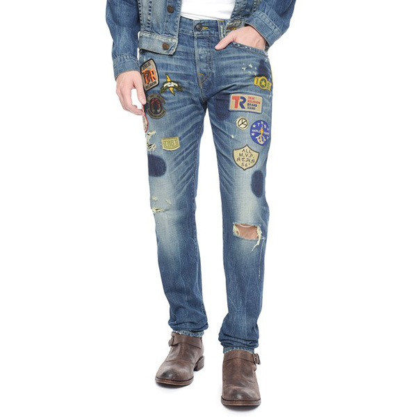 TRUE RELIGION DEAN TAPERED WELL TRAVELED PATCHWORK MENS JEAN
