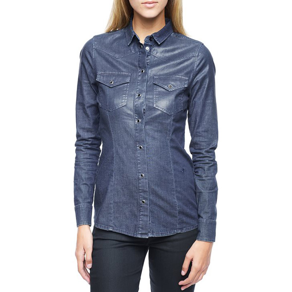 TRUE RELIGION EUROPEAN DANIELLE WESTERN DENIM WOMENS SHIRT