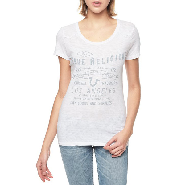 TRUE RELIGION EUROPEAN TR TRADEMARK WOMENS T-SHIRT