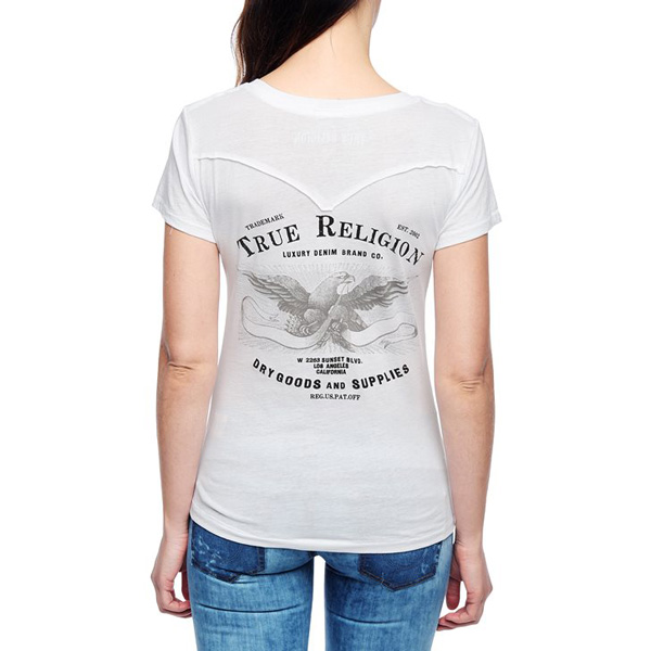 TRUE RELIGION EUROPEAN EAGLE PRINT WOMENS T-SHIRT