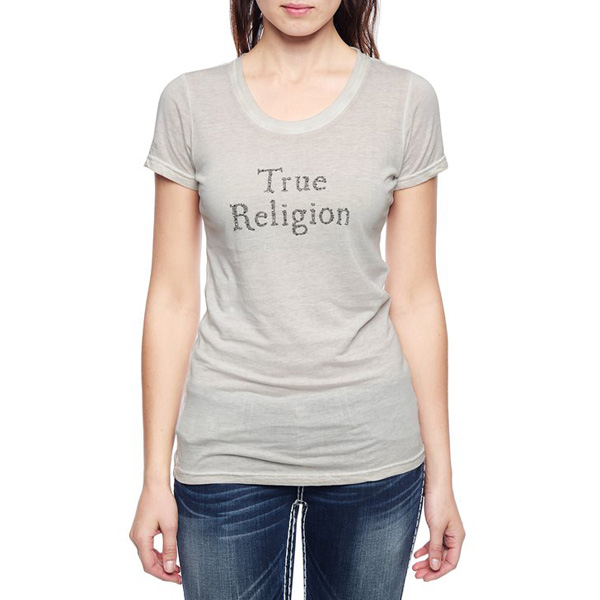TRUE RELIGION EUROPEAN RHINESTONE LOGO WOMENS T-SHIRT