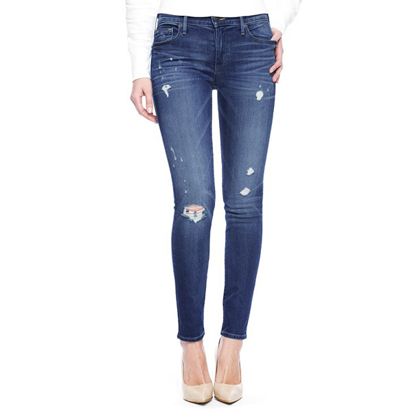 TRUE RELIGION HALLE MID RISE SUPER SKINNY RIPPED WOMENS JEAN
