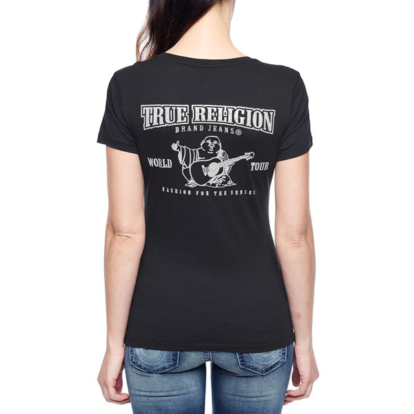 TRUE RELIGION HAND PICKED CLASSIC LOGO DEEP V-NECK CRYSTAL WOMENS T-SHIRT