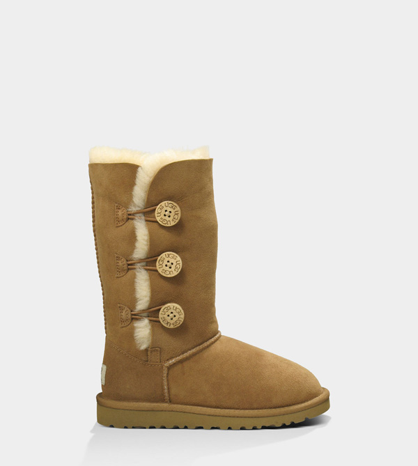 UGG KIDS BAILEY BUTTON TRIPLET CHESTNUT