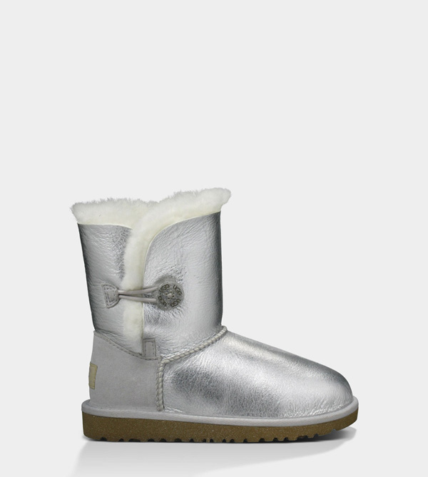 UGG TODDLERS BAILEY BUTTON METALLIC STERLING