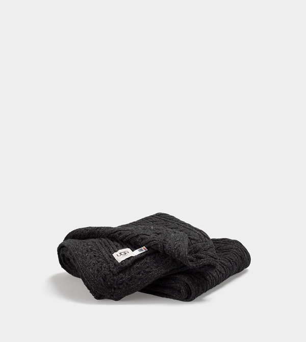 UGG CABLE KNIT THROW CHARCOAL