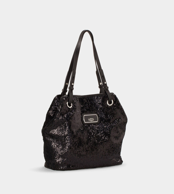 UGG WOMENS CLASSIC SPARKLE TOTE BLACK/BLACK