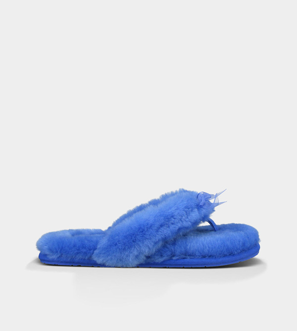 UGG WOMENS FLUFF FLIP FLOP II ELECTRIC BLUE