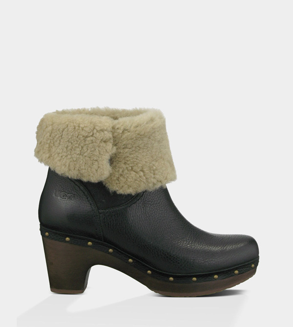UGG WOMENS AMORET - LEATHER BLACK