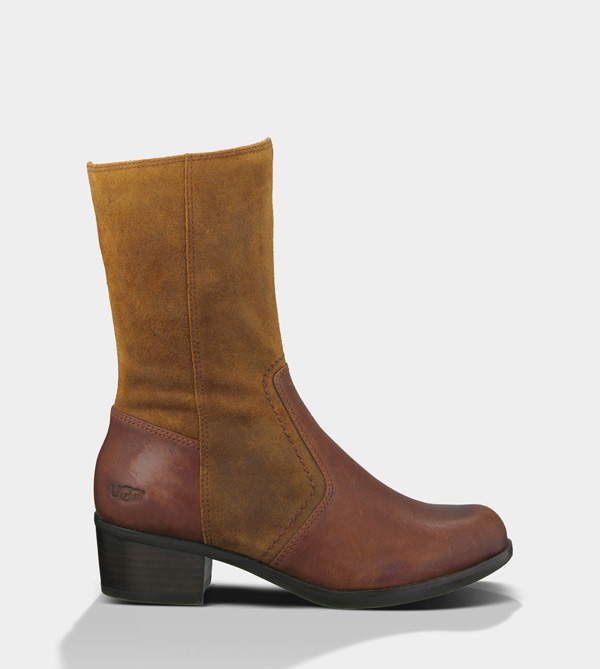UGG WOMENS LOU - LEATHER DARK CHESTNUT