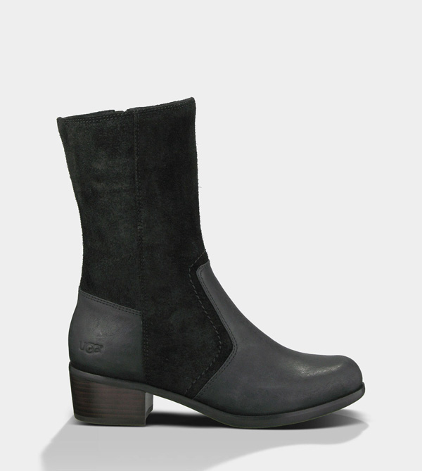 UGG WOMENS LOU - LEATHER BLACK