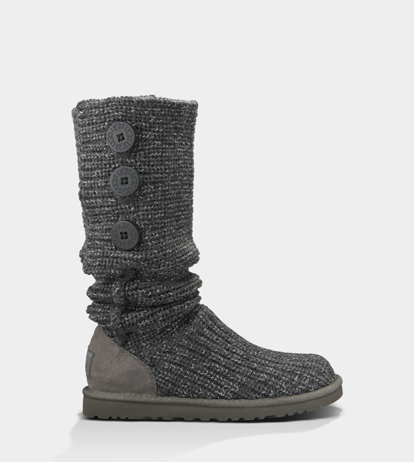 UGG WOMENS CLASSIC CARDY METALLIC CHARCOAL/SILVER