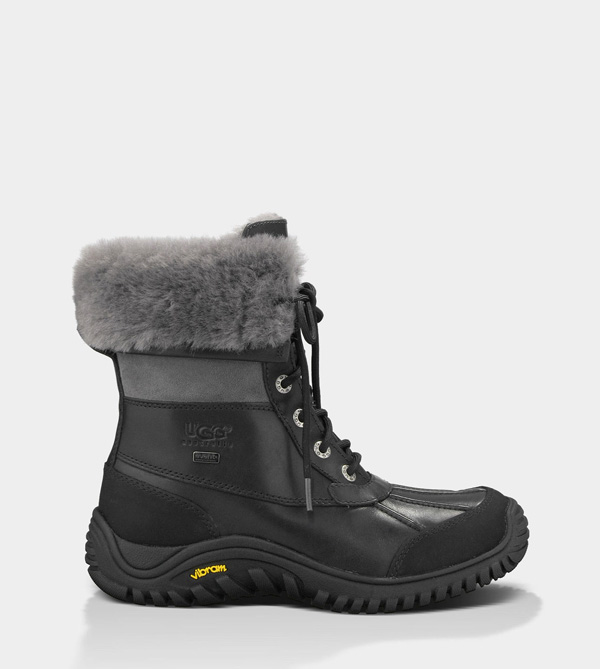 UGG WOMENS ADIRONDACK BOOT II - LEATHER BLACK/GREY