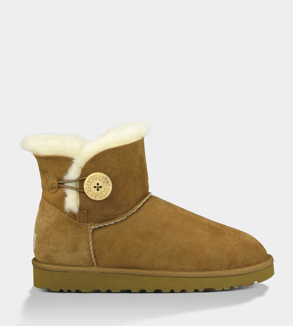 UGG WOMENS MINI BAILEY BUTTON CHESTNUT