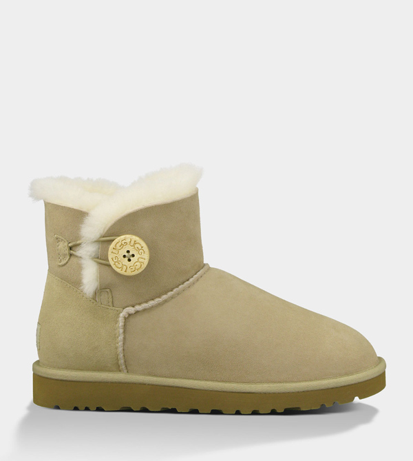 UGG WOMENS MINI BAILEY BUTTON SAND