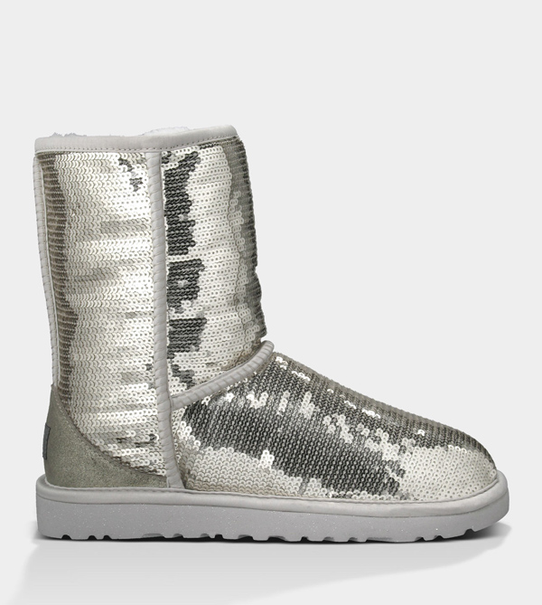 UGG WOMENS CLASSIC SHORT SPARKLES SILVER