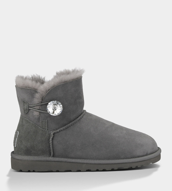 UGG WOMENS MINI BAILEY BUTTON BLING GREY