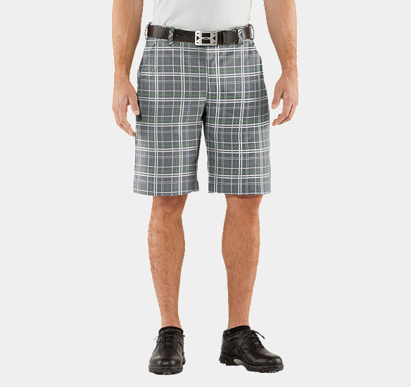 UNDER ARMOUR MEN FORGED PLAID GOLF SHORTS GRAPHITE