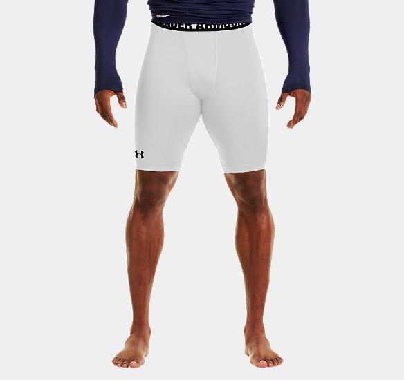 UNDER ARMOUR MEN HEATGEAR SONIC LONG COMPRESSION SHORTS WHITE