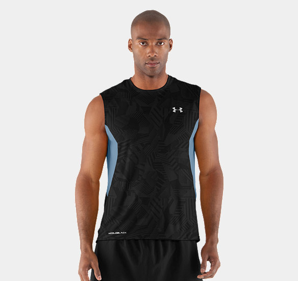 UNDER ARMOUR MEN COLDBLACK ENGAGE RUN SLEEVELESS T-SHIRT BLACK