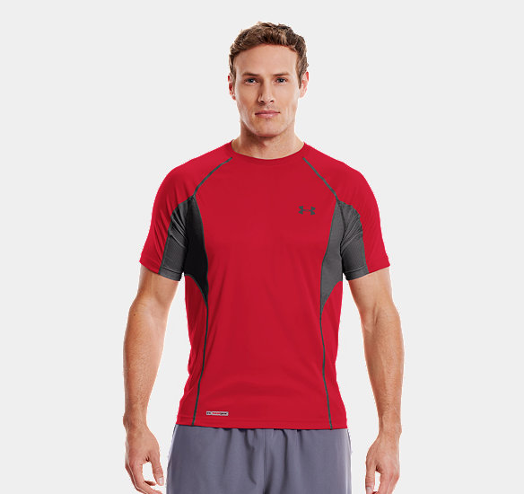 UNDER ARMOUR MEN HEATGEAR FLYWEIGHT FITTED SHORT SLEEVE RED
