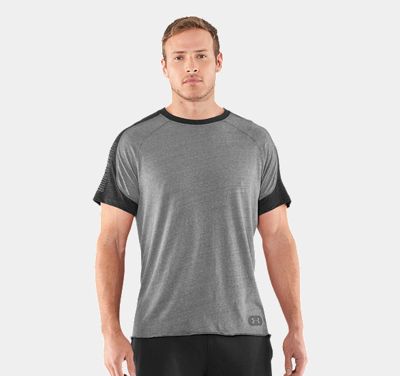 UNDER ARMOUR MEN CHARGED COTTON CONTENDER T-SHIRT TRUE GRAY HEATHER