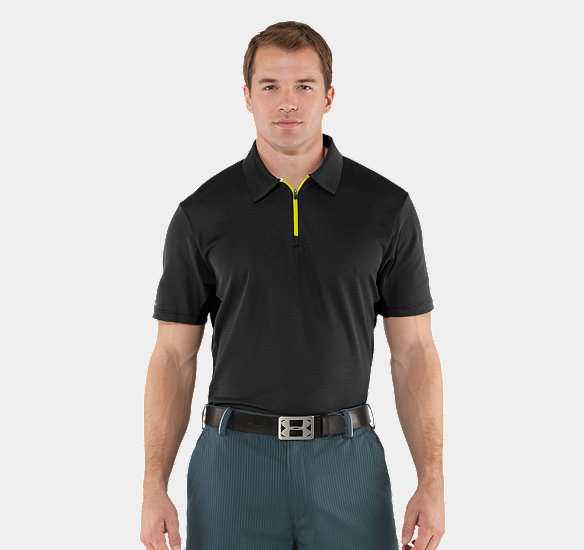 UNDER ARMOUR MEN COLDBLACK ULTIMATE ZIP POLO BLACK