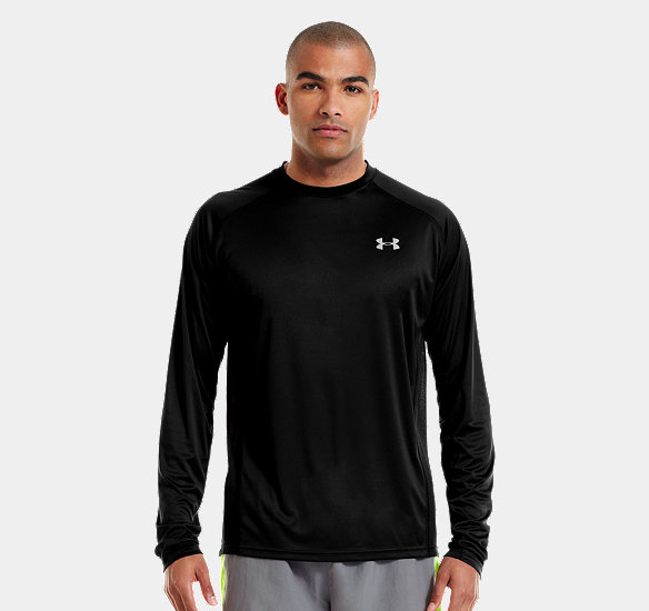 UNDER ARMOUR MEN HEATGEAR FLYWEIGHT RUN LONG SLEEVE BLACK