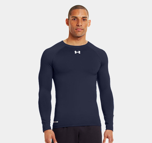 UNDER ARMOUR MEN HEATGEAR SONIC COMPRESSION LONG SLEEVE MIDNIGHT NAVY