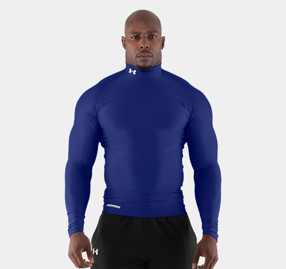 UNDER ARMOUR MEN COLDGEAR EVO LONG SLEEVE COMPRESSION MOCK ROYAL